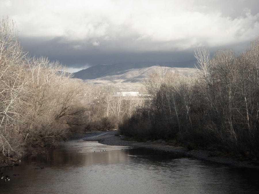 Mountain River Cloud Trees