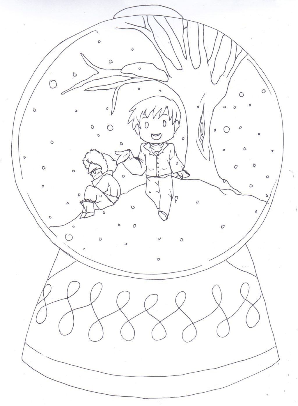 snow globes coloring pages - photo#21