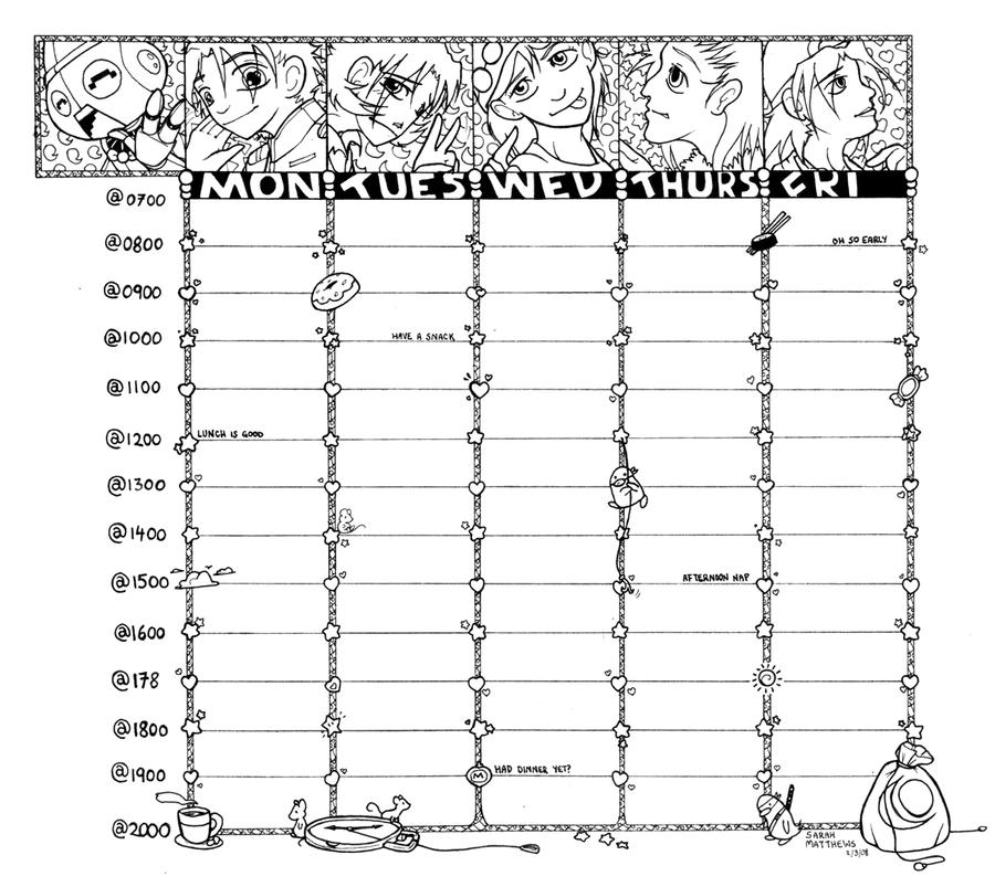 Quotes On School Time Table: Printable Class Timetable By Creatureart On DeviantArt