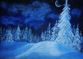 Snowy night by HelaLe