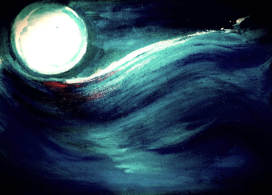Moon and Wave by HelaLe