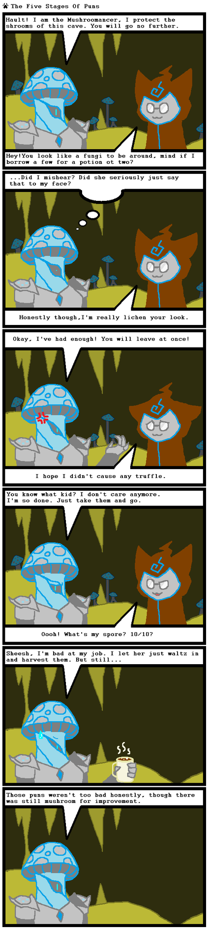 The Five Stages of Puns by Mythril-Jelly