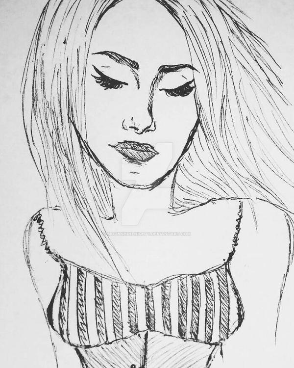 Sketching of Woman  [edited] by Moonshinenight1