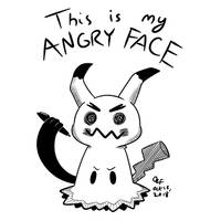 Inktober Day 15! Angry Face Mimikyu! by OzoneFruit