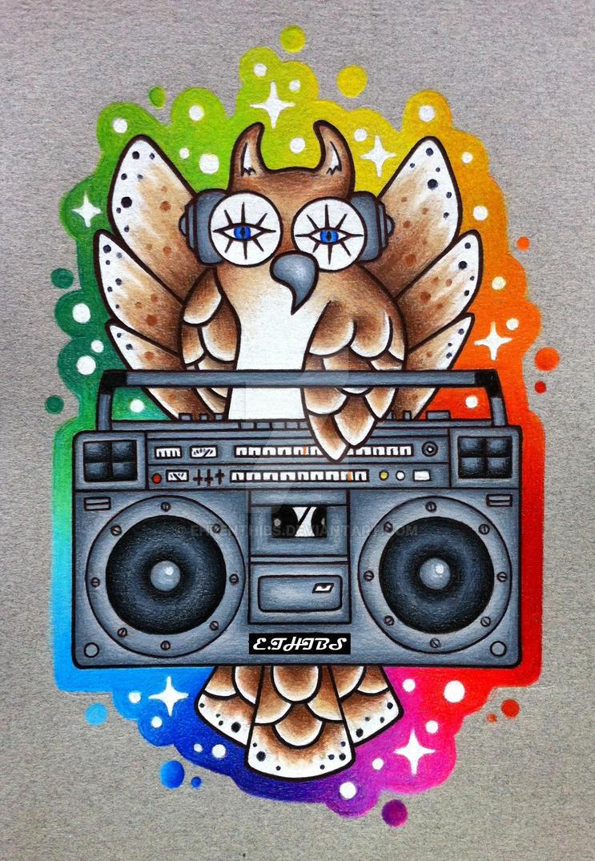 Boom box Owl by EhrenThibs