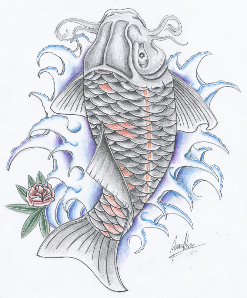 Black koi fish by jovictory on deviantart for Black koi tattoo