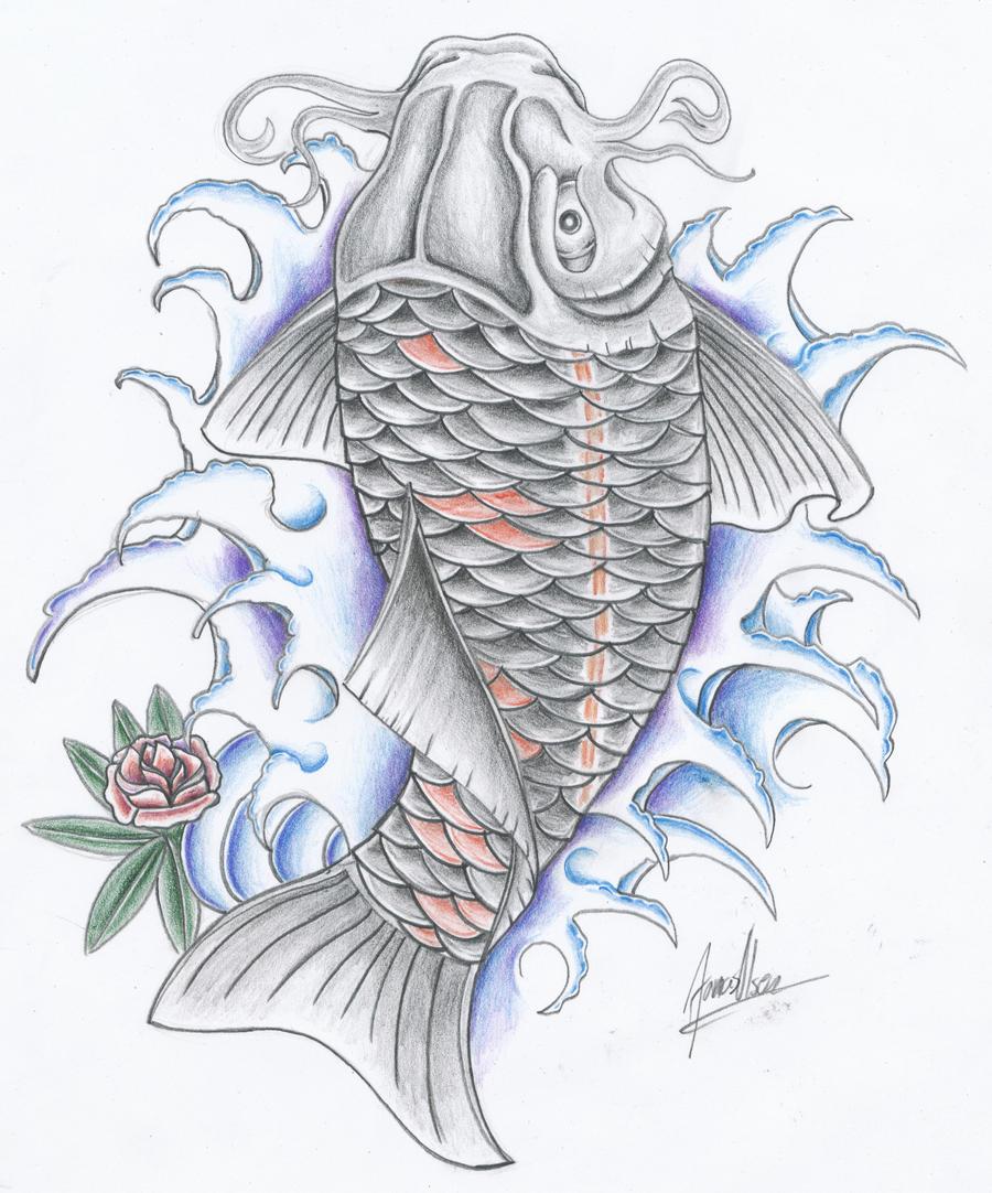 black koi fish by *TattooJO on