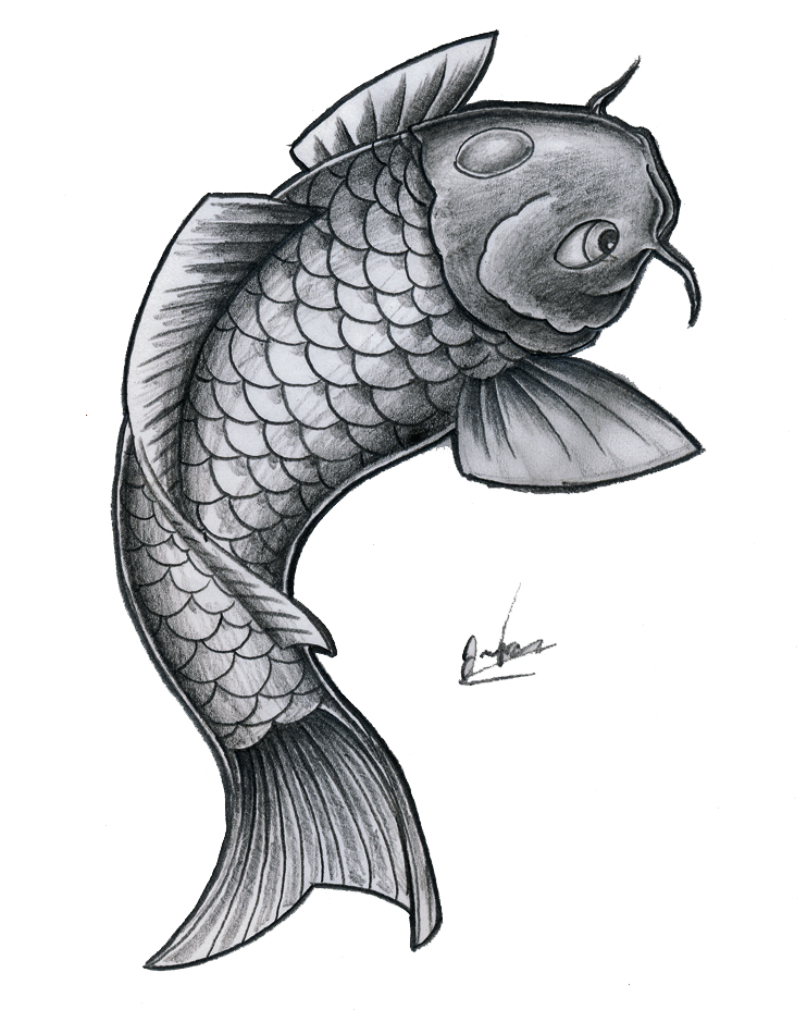 Simple BnW koi fish by JOVictory