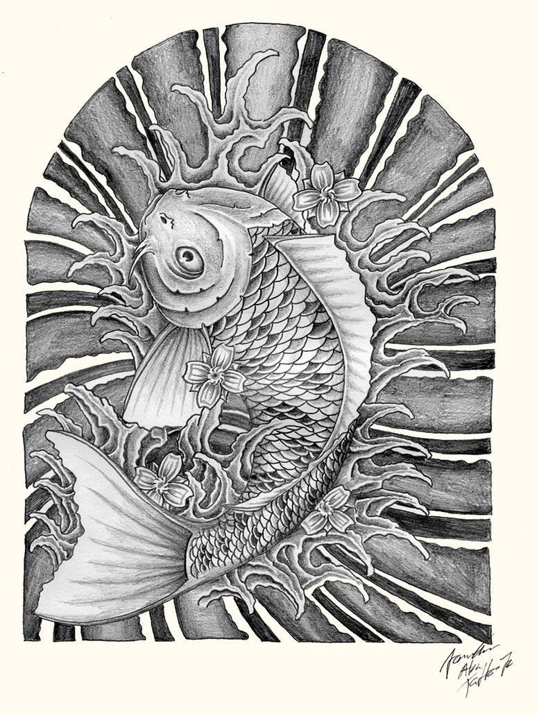 swimming koi fish by JOVictory