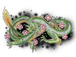 Green japanese dragon