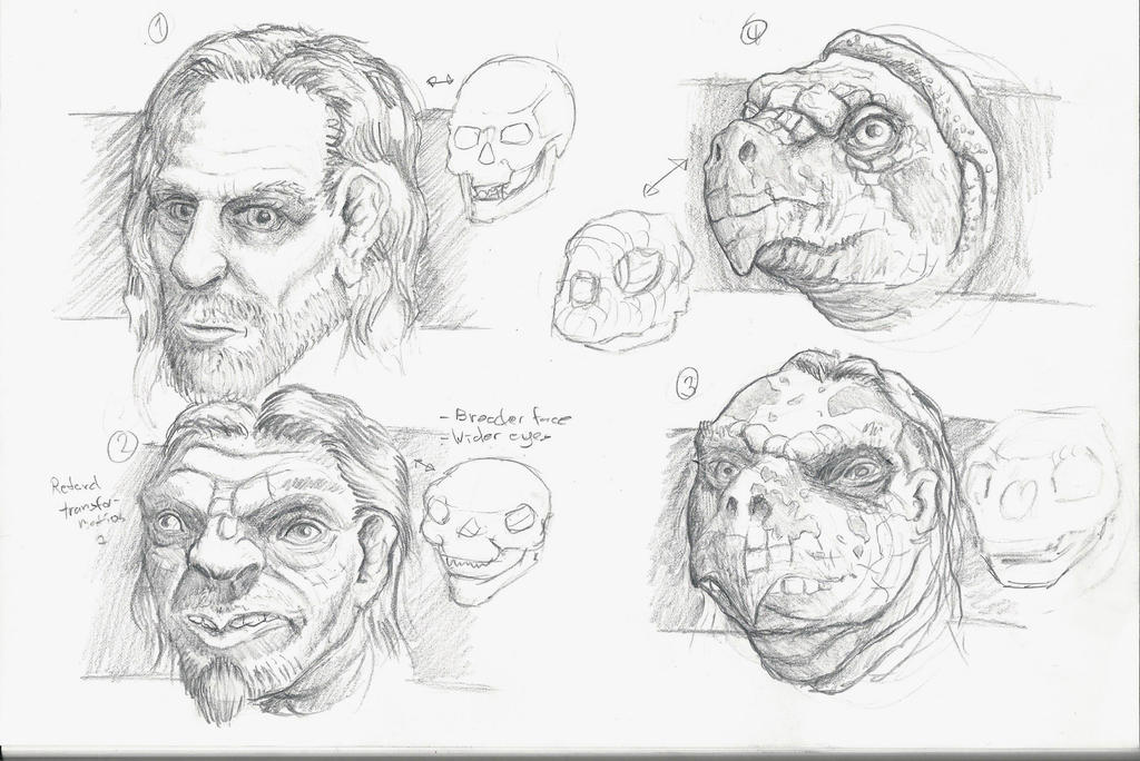 rough sketch metamorphosis from human to turtle by ...