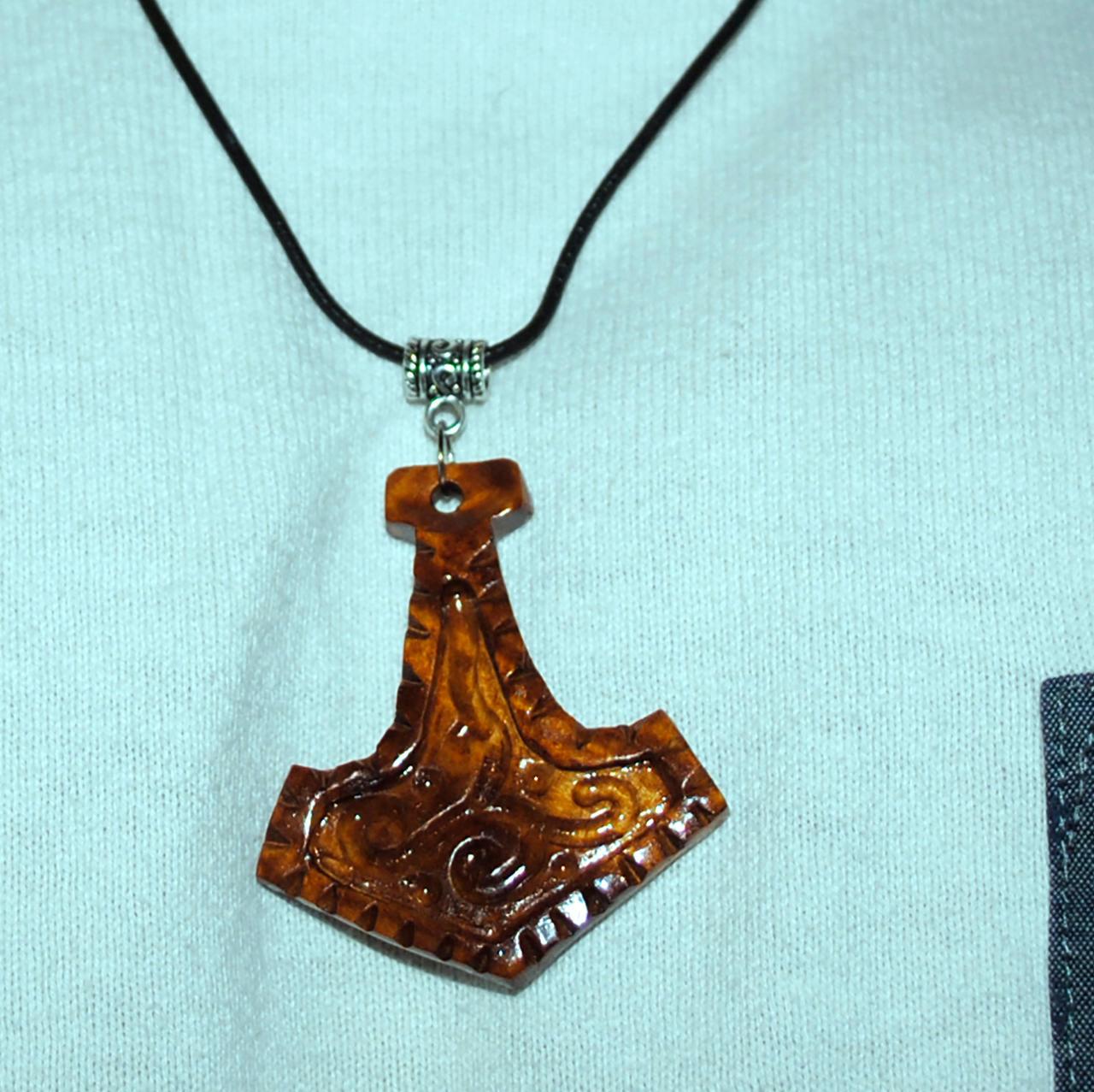 thors hammer handmade wooden pendant burl by
