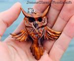 Wooden owl pendant
