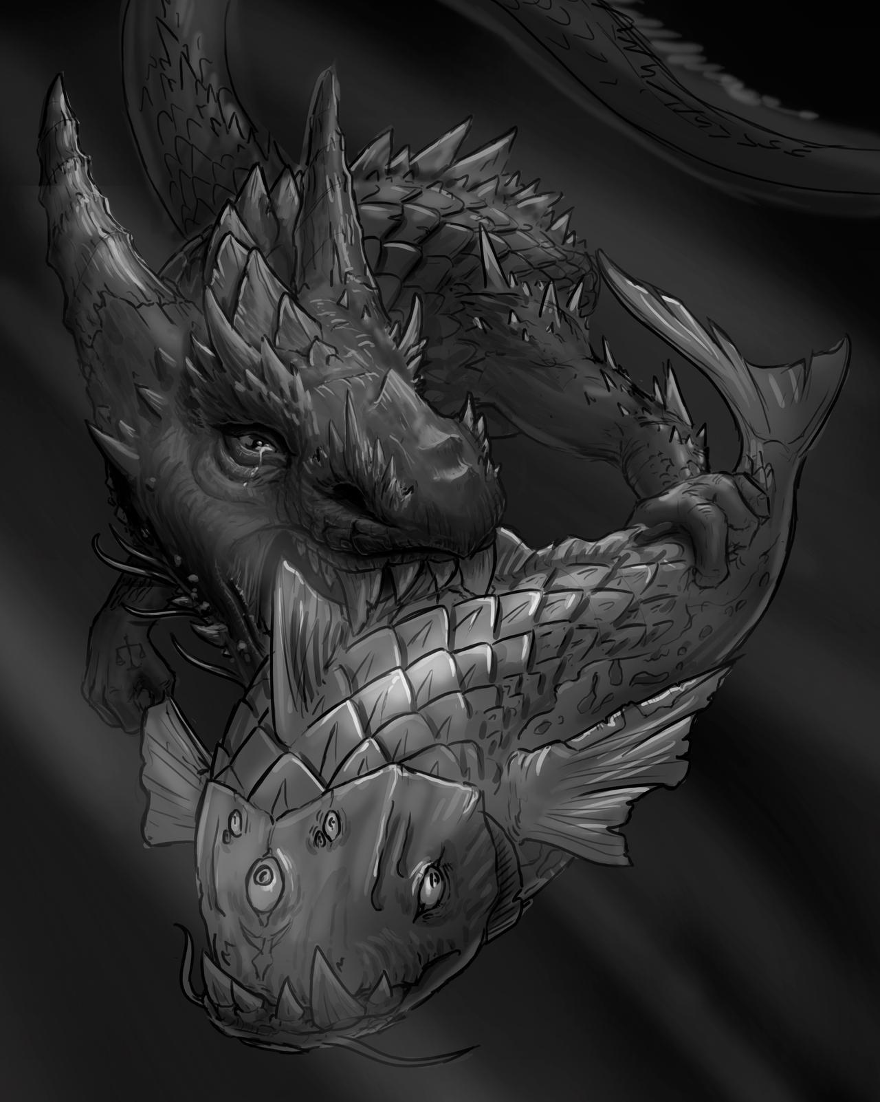 Koi fish and dragon painting by jonasolsenwoodcraft on for Koi fish artists