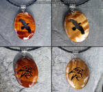 Wooden raven pendants