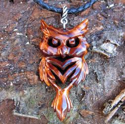 Wooden owl pendant by JonasOlsenWoodcraft