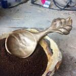 Wooden leaf coffee spoon