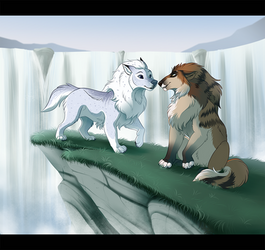 Lingering by the Waterfall [Commission] by KohuStudios