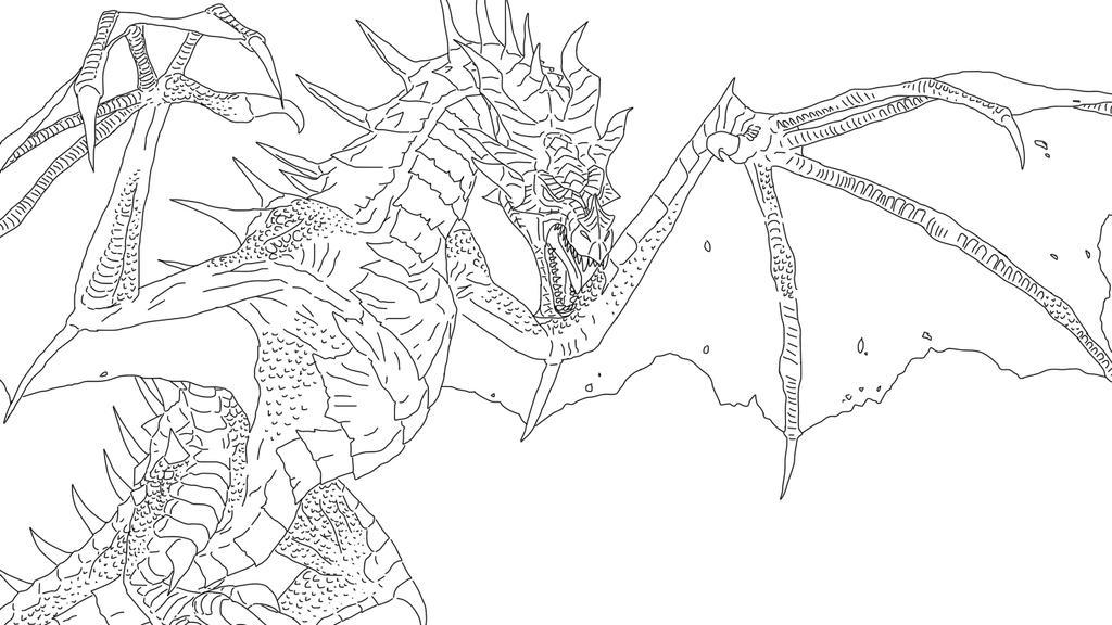 Skyrim Dragon Lineart By LadyAdriela