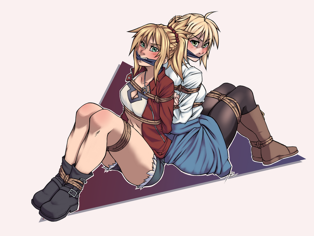 Commission- Saber and Mordred by RocatArt