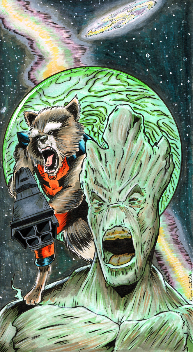 Groot and Rocket by DeanStahlArt