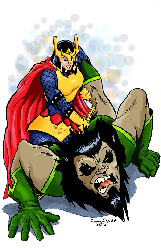 Big Barda vs. Kalibak by DeanStahlArt