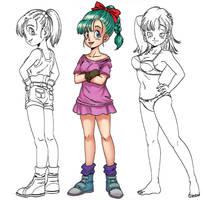 3 on 4 Bulma's outfits (work in progress)