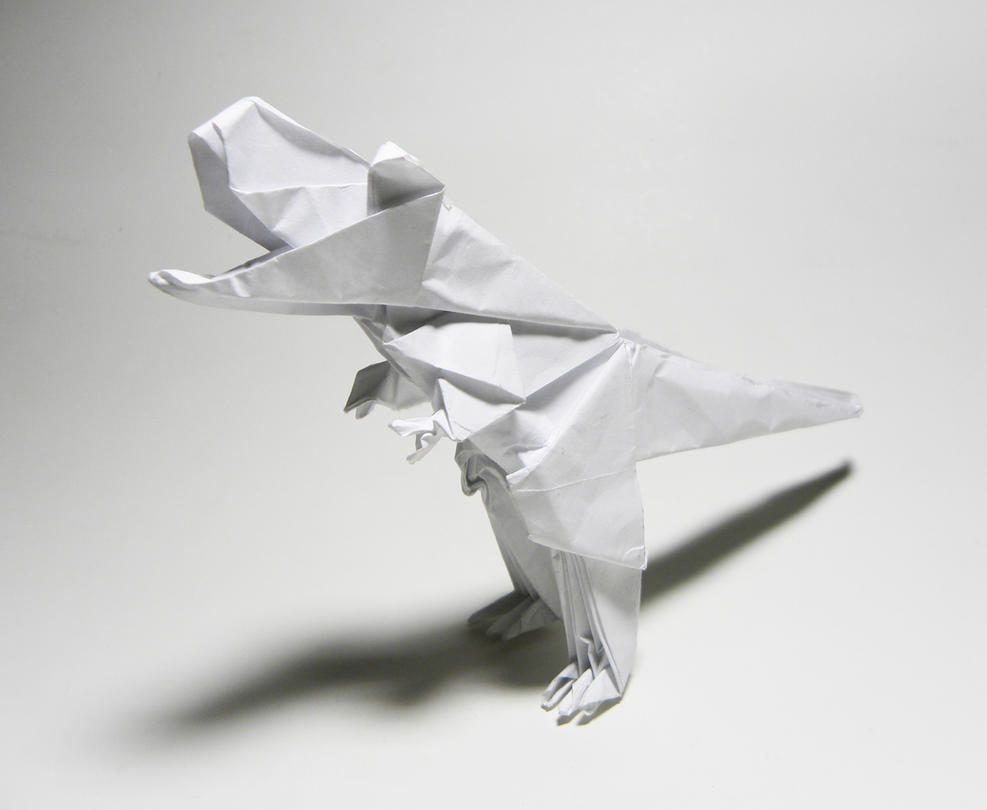 Origami Trex By Twistedndistorted On Deviantart