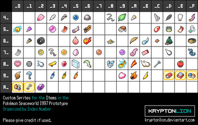 Pokemon Spaceworld 97 Custom Item Sprites by KryptonLion