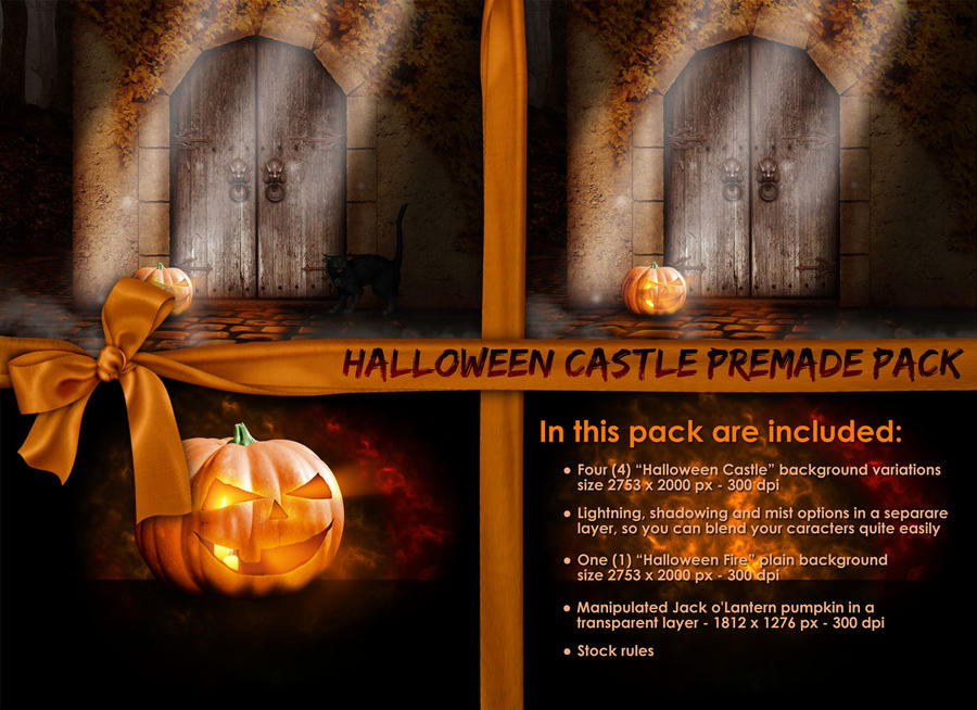Halloween Castle Stock Pack by Josiane-Rey