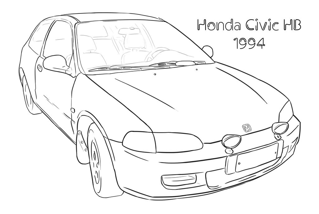 honda civic car drawing