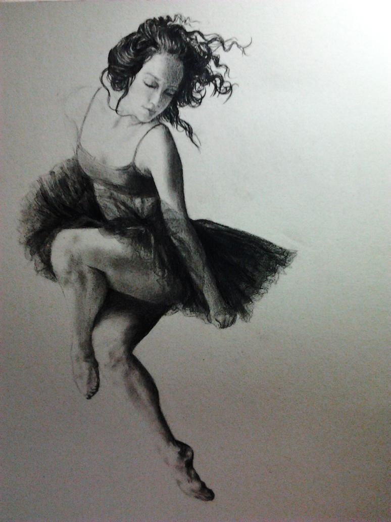 Charcoal Pencil Ballet Dance Drawing by msfangfang