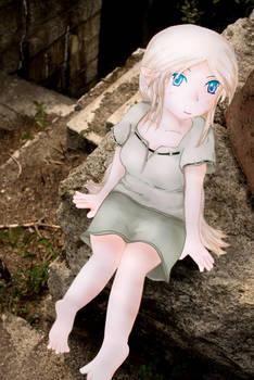 Paper Child Elf girl at ruins