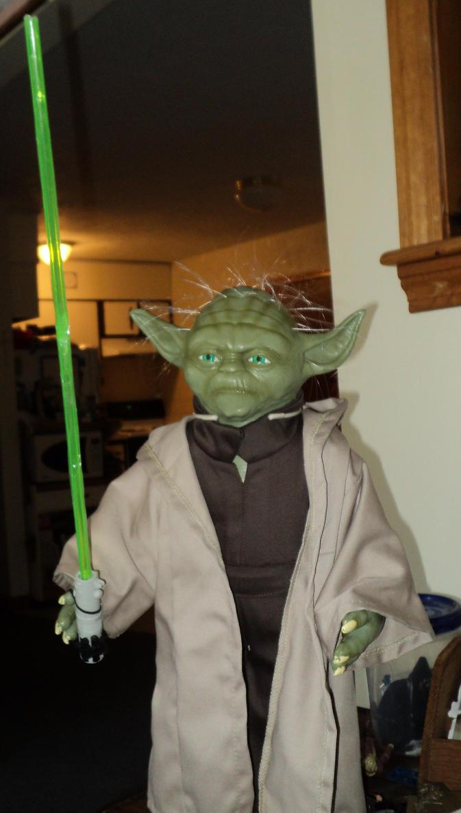 Custom lightsaber for 17in tall Yoda by toyphototaker