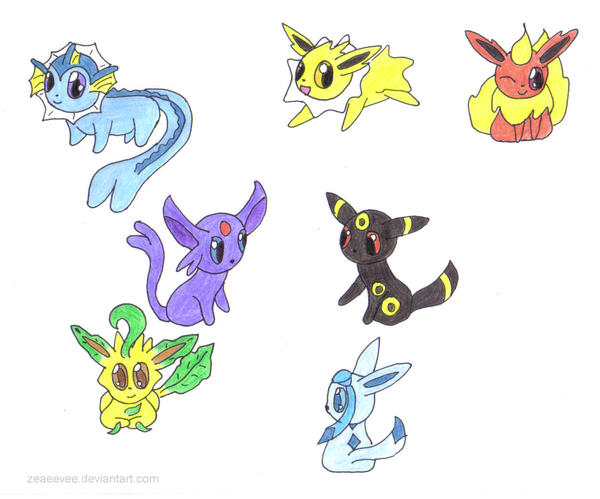 Chibi Eeveelutions by zeaeevee on deviantART