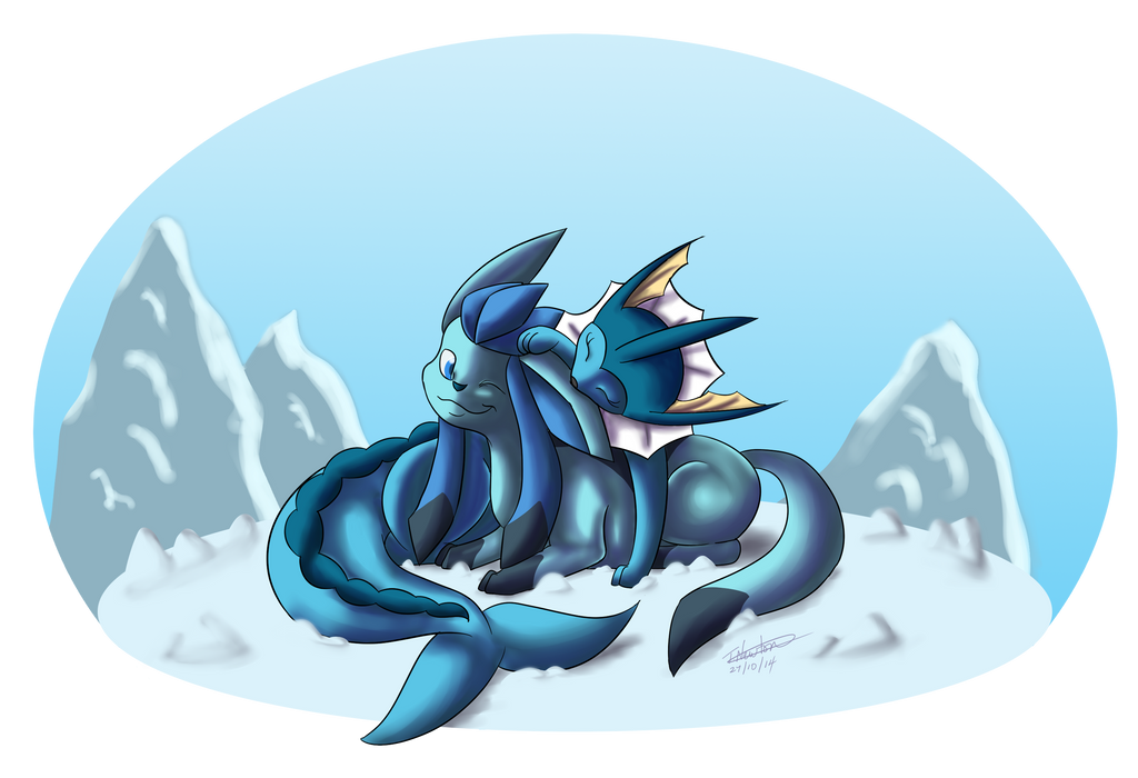 Vaporeon-F and Glaceon-M by zeaeevee