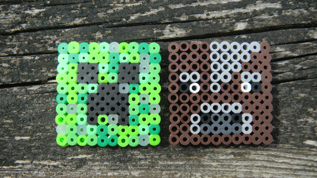 Minecraft creeper and cow perler bead magnet by arimich