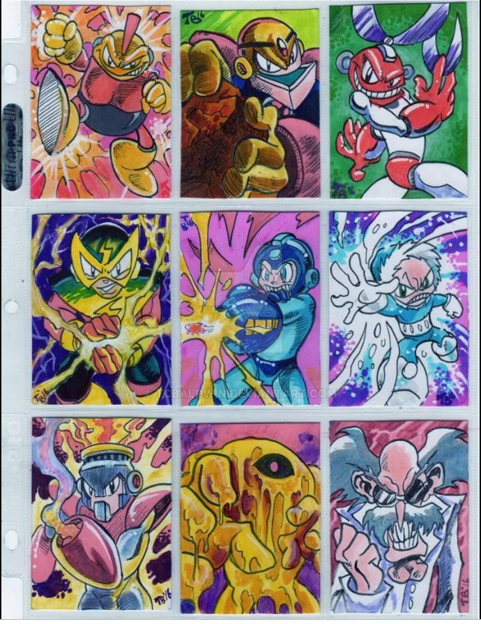 Mega Man 1 sketch cards by TCBaldwin
