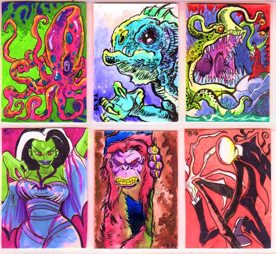 Random monster sketch cards by TCBaldwin