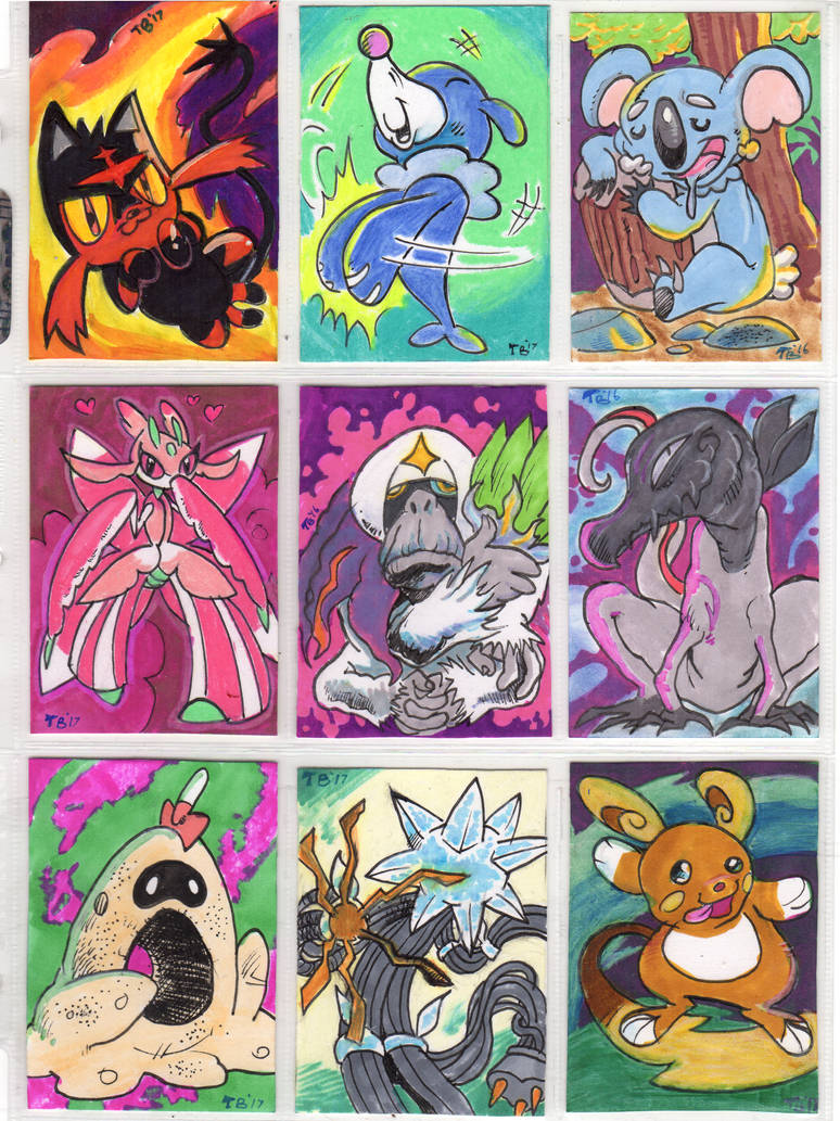 Pokemon sketch cards: Alola by TCBaldwin
