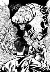 Lovecraftian Vaporous Bug illustration (b/w)