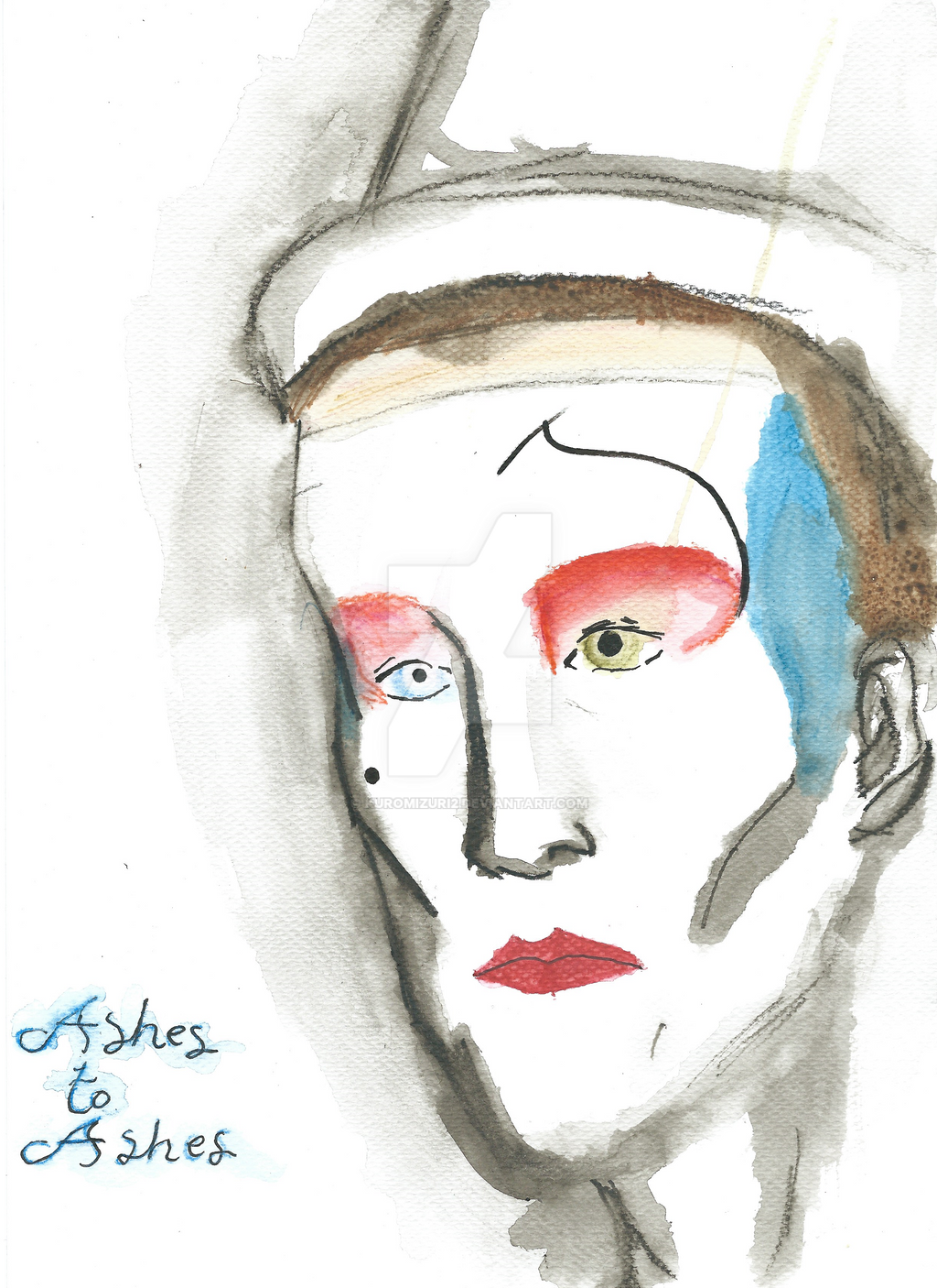 David Bowie Ashes to Ashes, watercolour pencils by