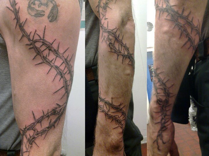 Thorn sleeve by scd666 on deviantart for Barb wire tattoo sleeve