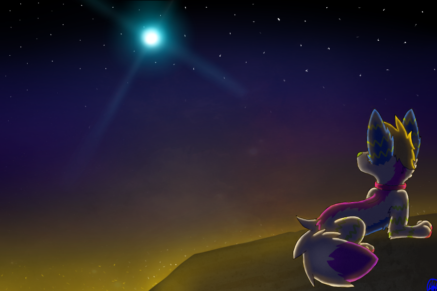 Siri and night sky by SaraTheDog848