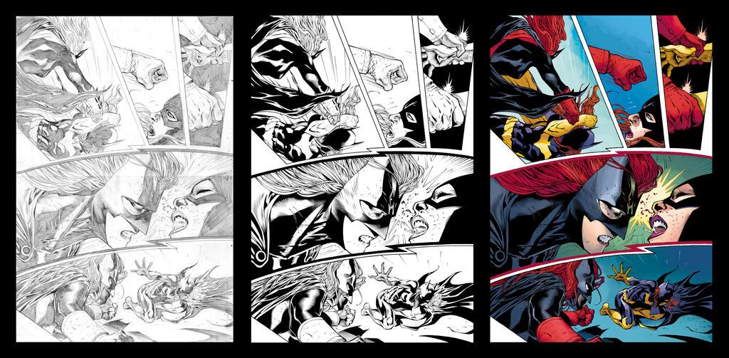 Batgirl vs Batwoman (Process) by JoshJ81