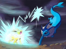 Jolteon vs Vaporeon by Jurassiczalar