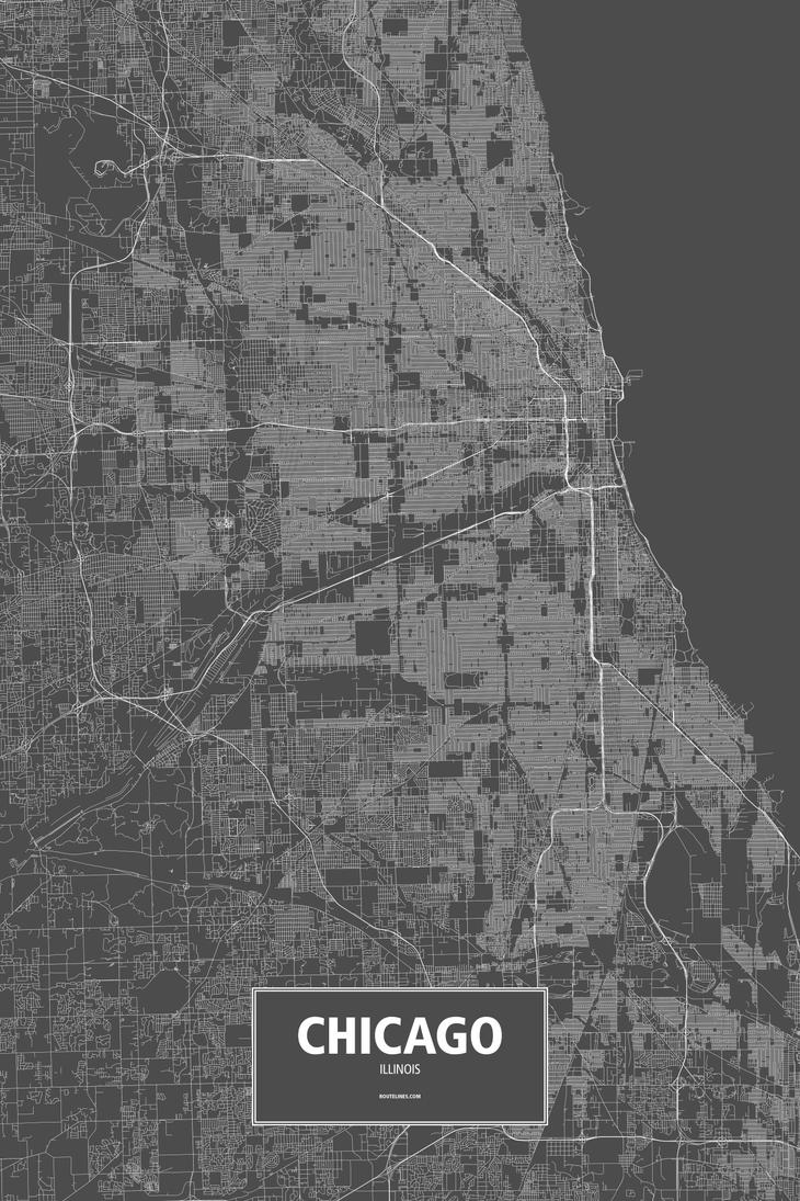 Chicago, Illinois (white on black) - Routelines by rougeux