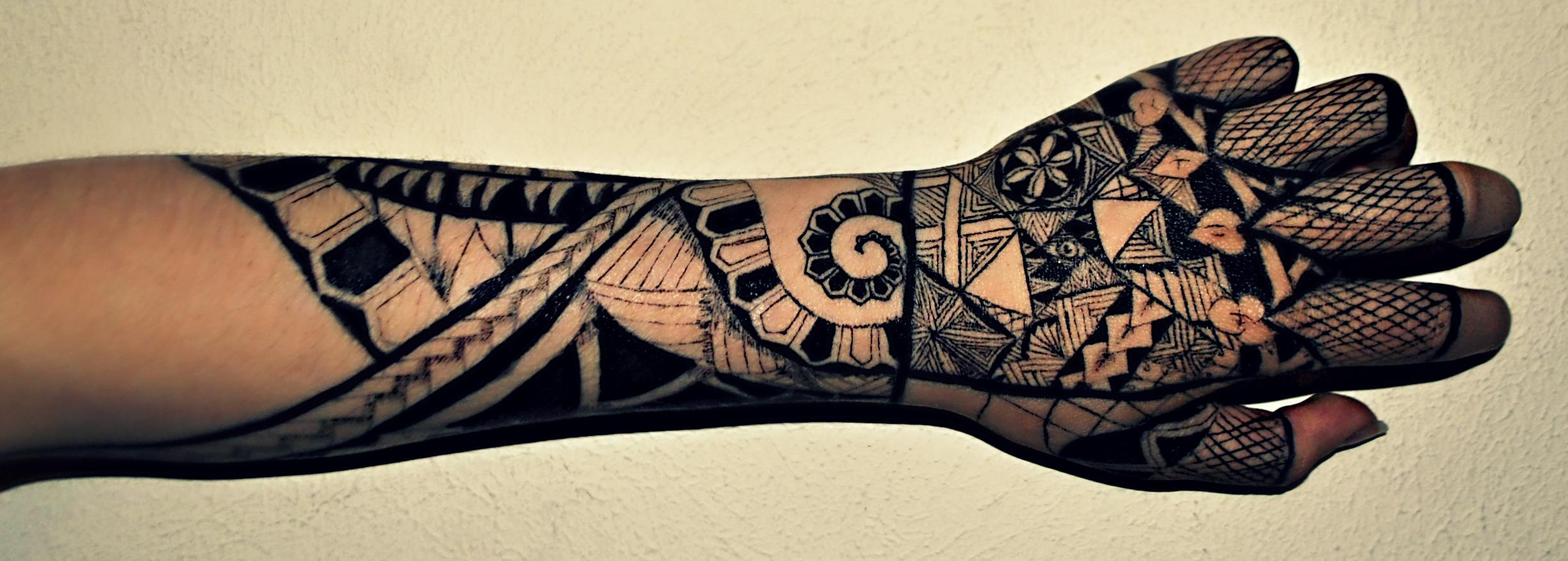 Henna Arm Sleeve Tattoo Polynesian half sleeve byHenna Tattoo Arm Sleeve
