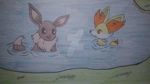 [RE]Eevee and Fennekin in the lake