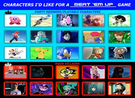 Characters I'd Like For a Beat 'em up Game by TRC-Tooniversity